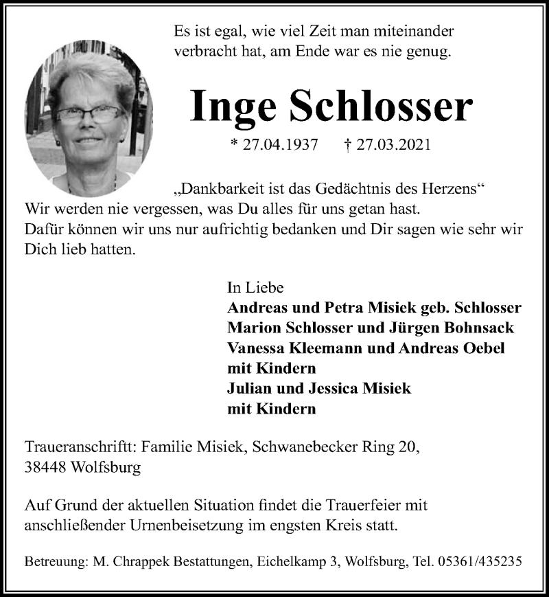 Traueranzeige für Inge Schlosser vom 03.04.2021 aus Aller Zeitung
