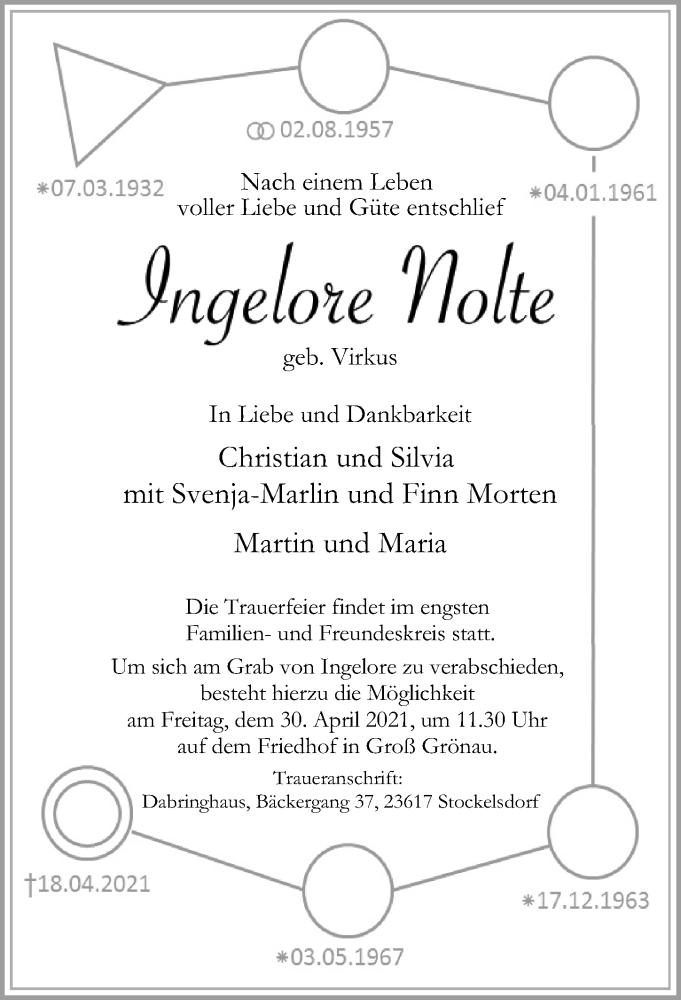 Traueranzeige für Ingelore Nolte vom 25.04.2021 aus Lübecker Nachrichten