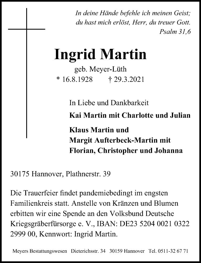 Traueranzeige für Ingrid Martin vom 03.04.2021 aus Hannoversche Allgemeine Zeitung/Neue Presse