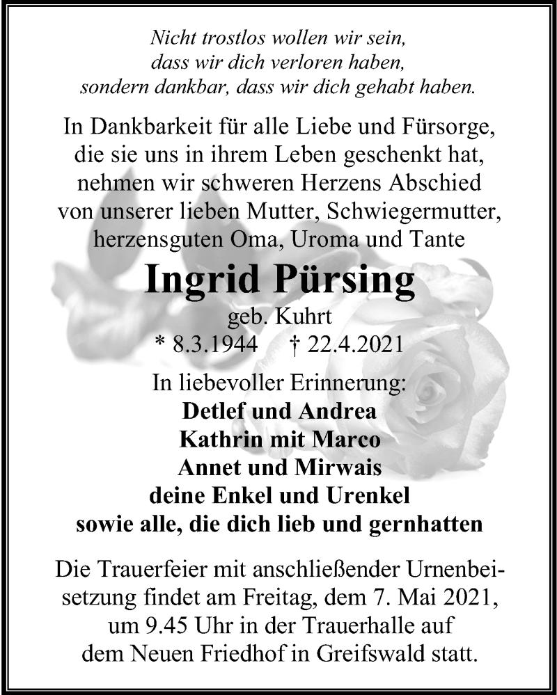 Traueranzeige für Ingrid Pürsing vom 24.04.2021 aus Ostsee-Zeitung GmbH