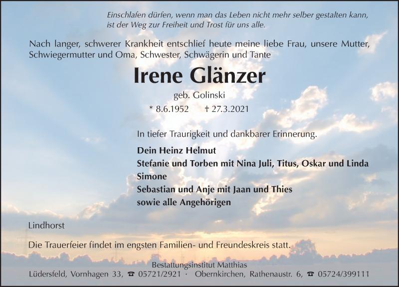 Traueranzeige für Irene Glänzer vom 03.04.2021 aus Schaumburger Nachrichten