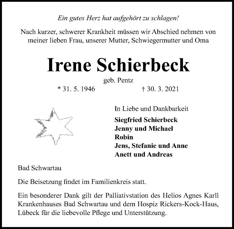 Traueranzeige für Irene Schierbeck vom 04.04.2021 aus Lübecker Nachrichten