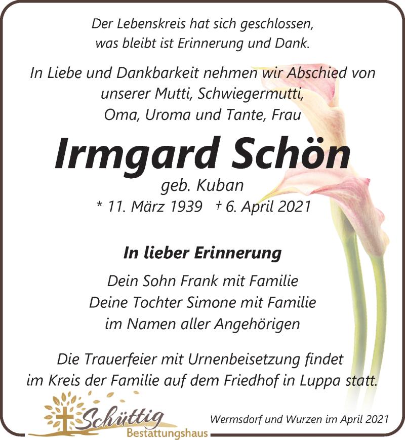 Traueranzeige für Irmgard Schön vom 10.04.2021 aus Leipziger Volkszeitung