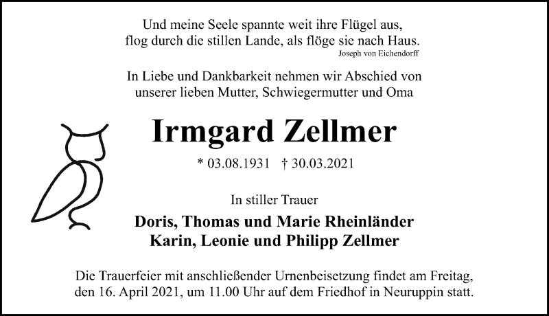 Traueranzeige für Irmgard Zellmer vom 03.04.2021 aus Märkischen Allgemeine Zeitung