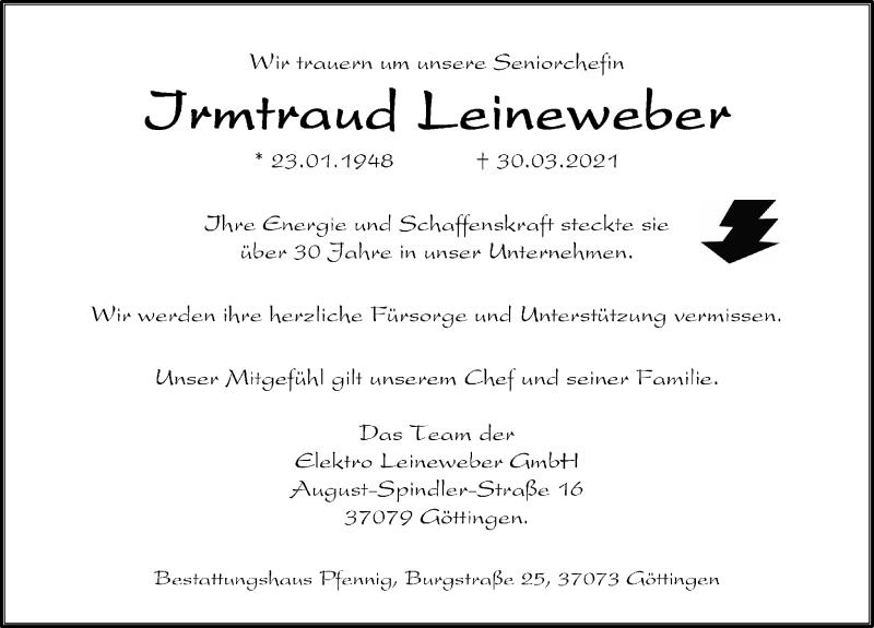 Traueranzeige für Irmtraud Leineweber vom 03.04.2021 aus Göttinger Tageblatt