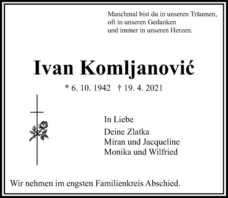 Traueranzeige für Ivan Komljanovic vom 24.04.2021 aus Kieler Nachrichten