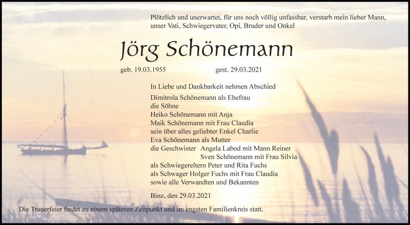 Traueranzeige für Jörg Schönemann vom 03.04.2021 aus Ostsee-Zeitung GmbH