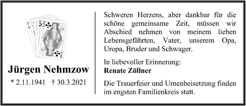 Traueranzeige für Jürgen Nehmzow vom 03.04.2021 aus Ostsee-Zeitung GmbH
