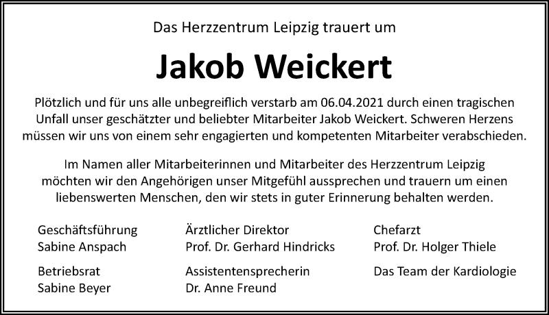 Traueranzeige für Jakob Weickert vom 10.04.2021 aus Leipziger Volkszeitung