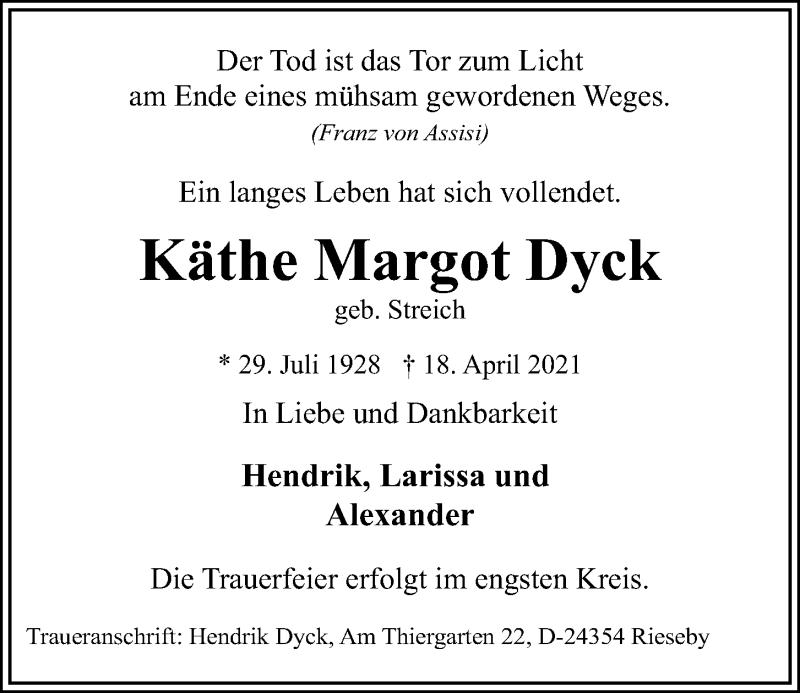 Traueranzeige für Käthe Margot Dyck vom 21.04.2021 aus Kieler Nachrichten