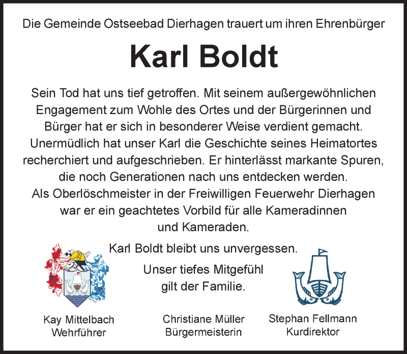 Traueranzeige für Karl Boldt vom 03.04.2021 aus Ostsee-Zeitung GmbH