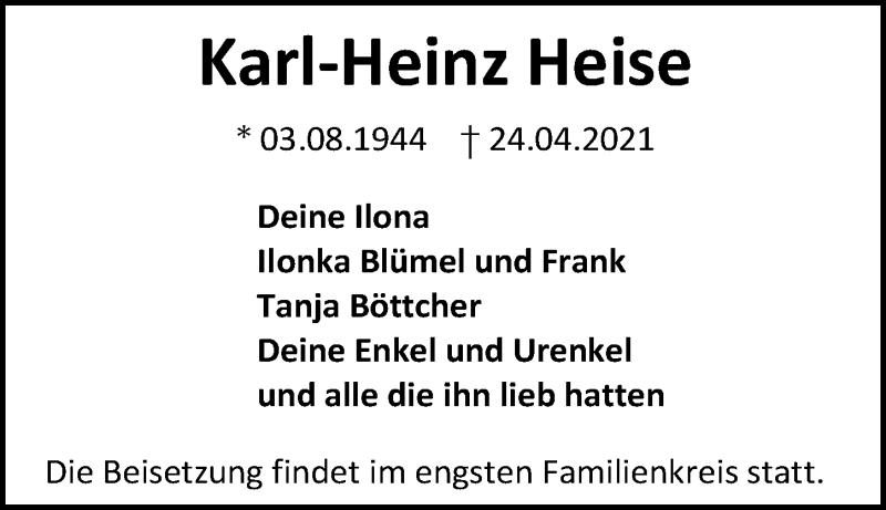 Traueranzeige für Karl-Heinz Heise vom 30.04.2021 aus Göttinger Tageblatt