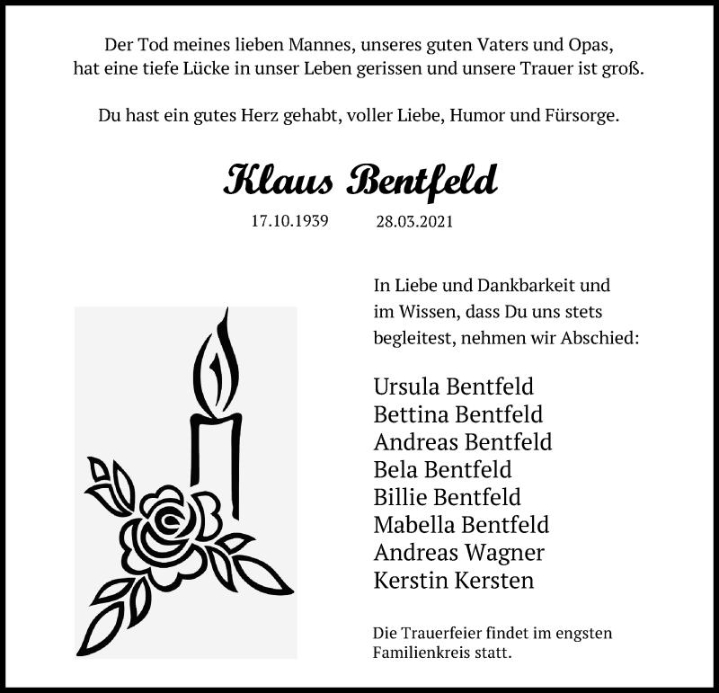 Traueranzeige für Klaus Bentfeld vom 04.04.2021 aus Lübecker Nachrichten