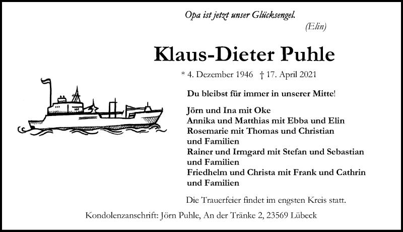 Traueranzeige für Klaus-Dieter Puhle vom 25.04.2021 aus Lübecker Nachrichten