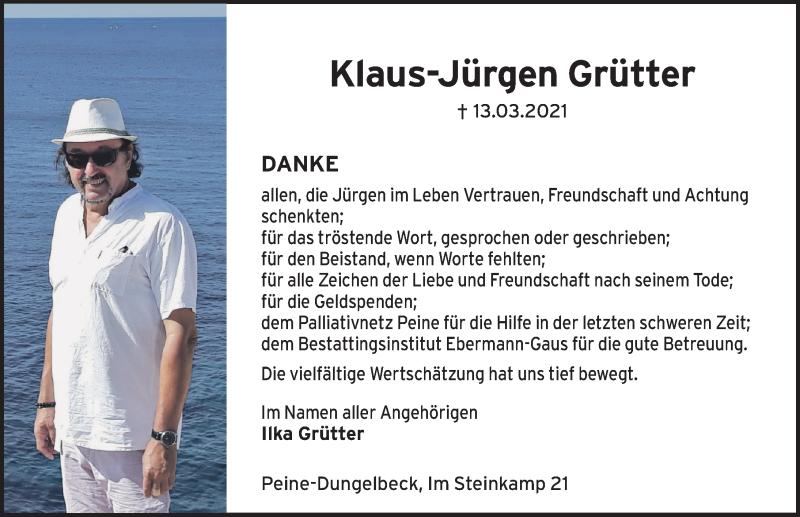 Traueranzeige für Klaus-Jürgen Grütter vom 30.04.2021 aus Peiner Allgemeine Zeitung