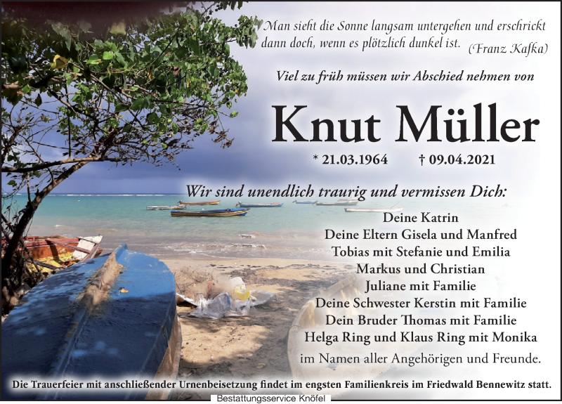Traueranzeige für Knut Müller vom 24.04.2021 aus Leipziger Volkszeitung