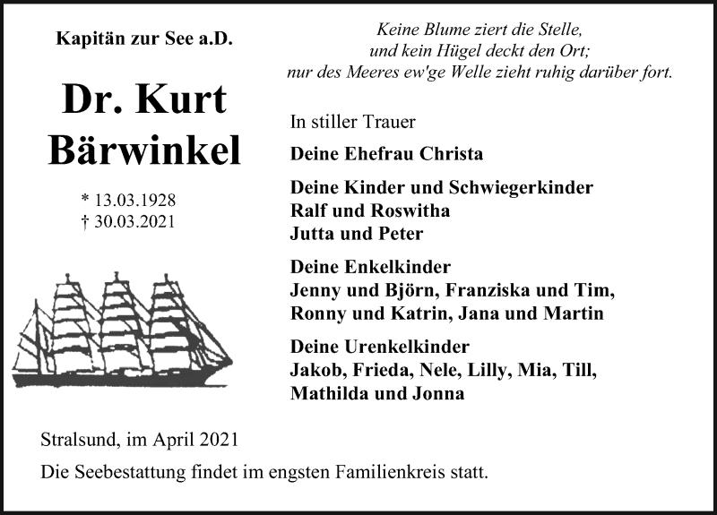Traueranzeige für Kurt Bärwinkel vom 03.04.2021 aus Ostsee-Zeitung GmbH