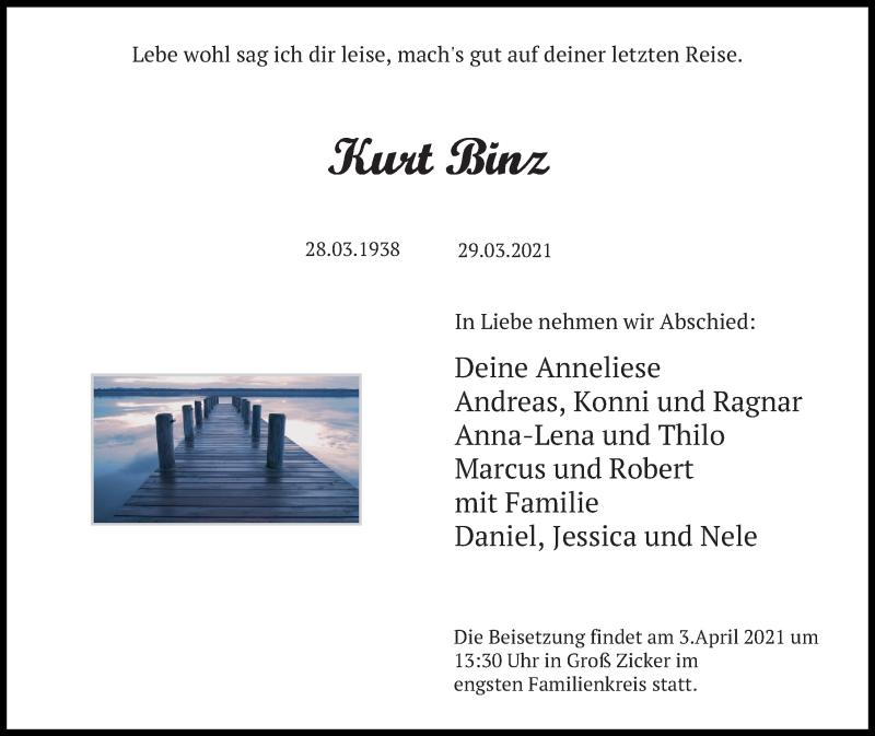Traueranzeige für Kurt Binz vom 01.04.2021 aus Ostsee-Zeitung GmbH