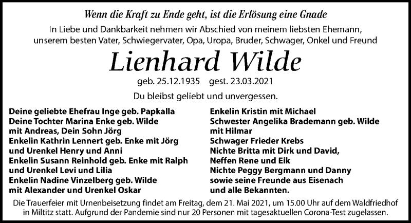Traueranzeige für Lienhard Wilde vom 24.04.2021 aus Leipziger Volkszeitung