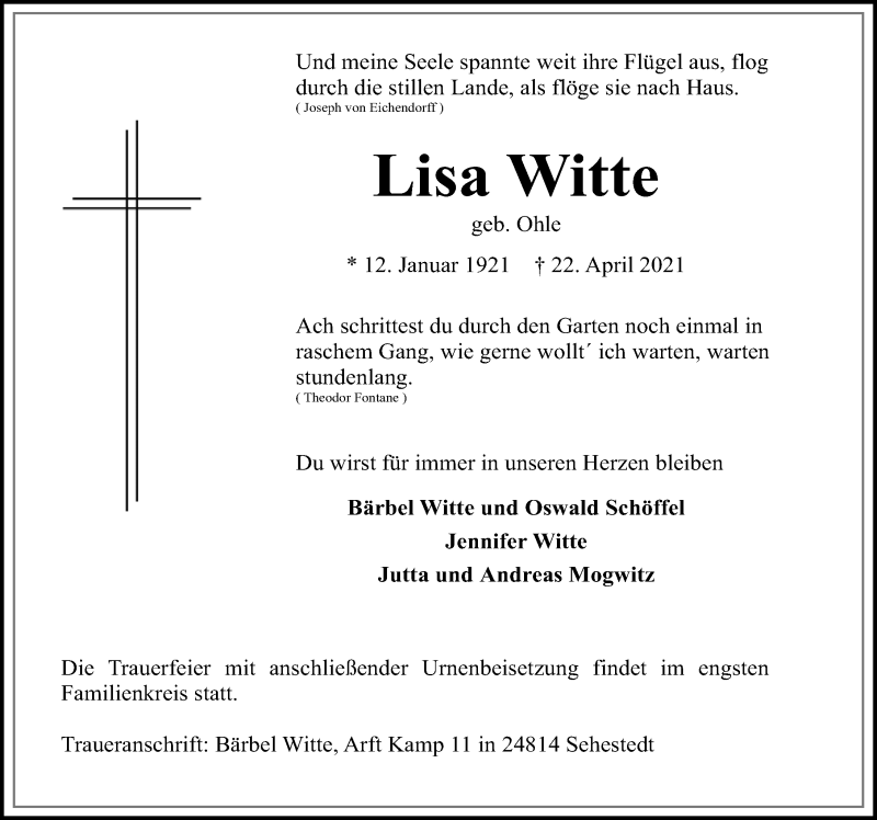 Traueranzeige für Lisa Witte vom 30.04.2021 aus Peiner Allgemeine Zeitung