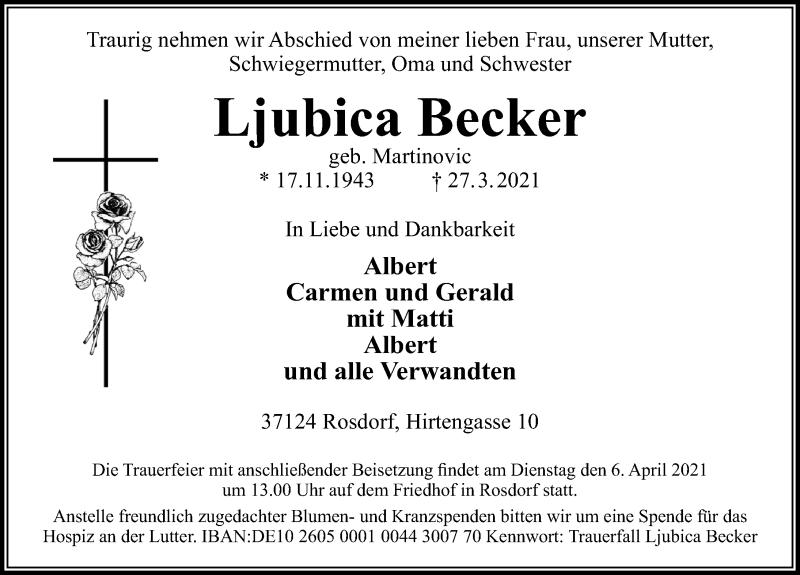 Traueranzeige für Ljubica Becker vom 03.04.2021 aus Göttinger Tageblatt