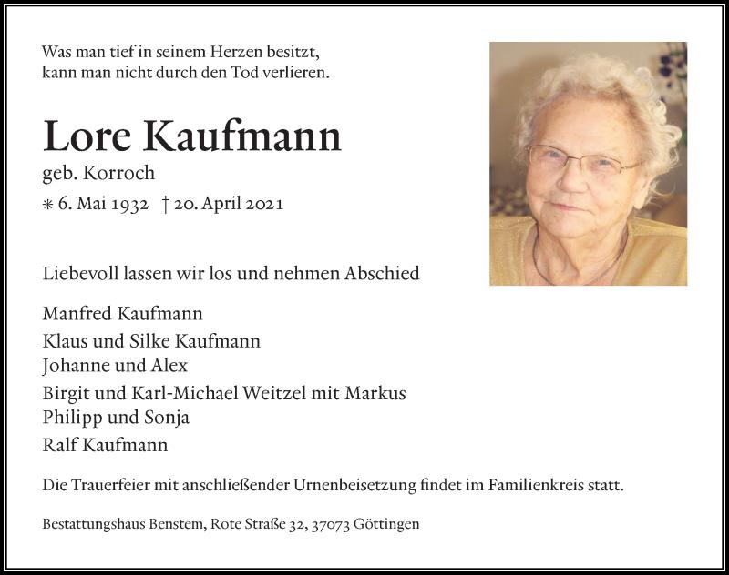 Traueranzeige für Lore Kaufmann vom 24.04.2021 aus Göttinger Tageblatt