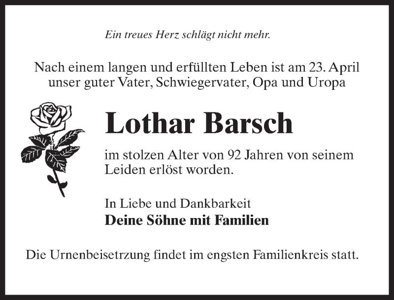 Traueranzeige für Lothar Barsch vom 30.04.2021 aus Märkischen Allgemeine Zeitung