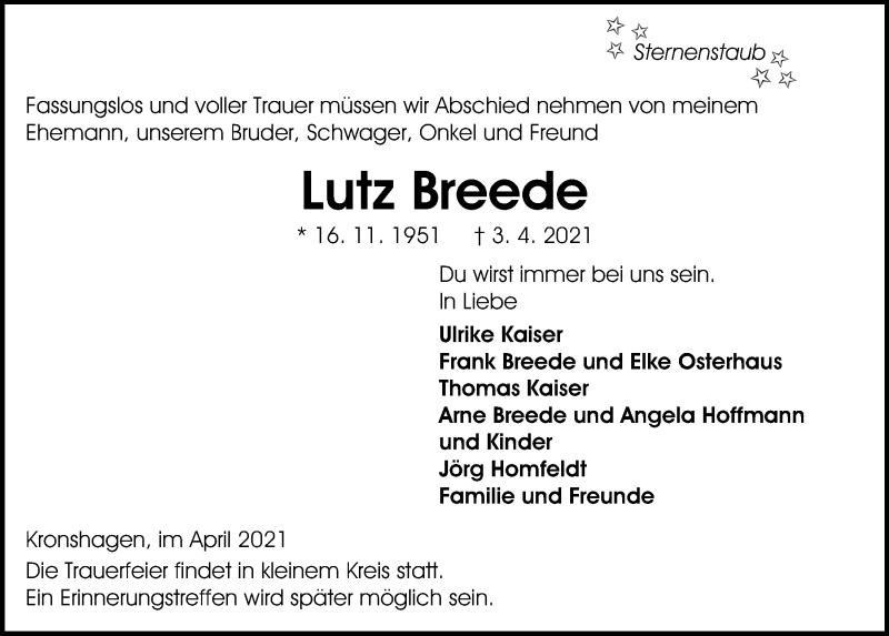 Traueranzeige für Lutz Breede vom 10.04.2021 aus Kieler Nachrichten