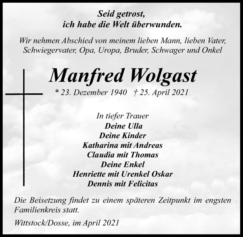 Traueranzeige für Manfred Wolgast vom 30.04.2021 aus Märkischen Allgemeine Zeitung