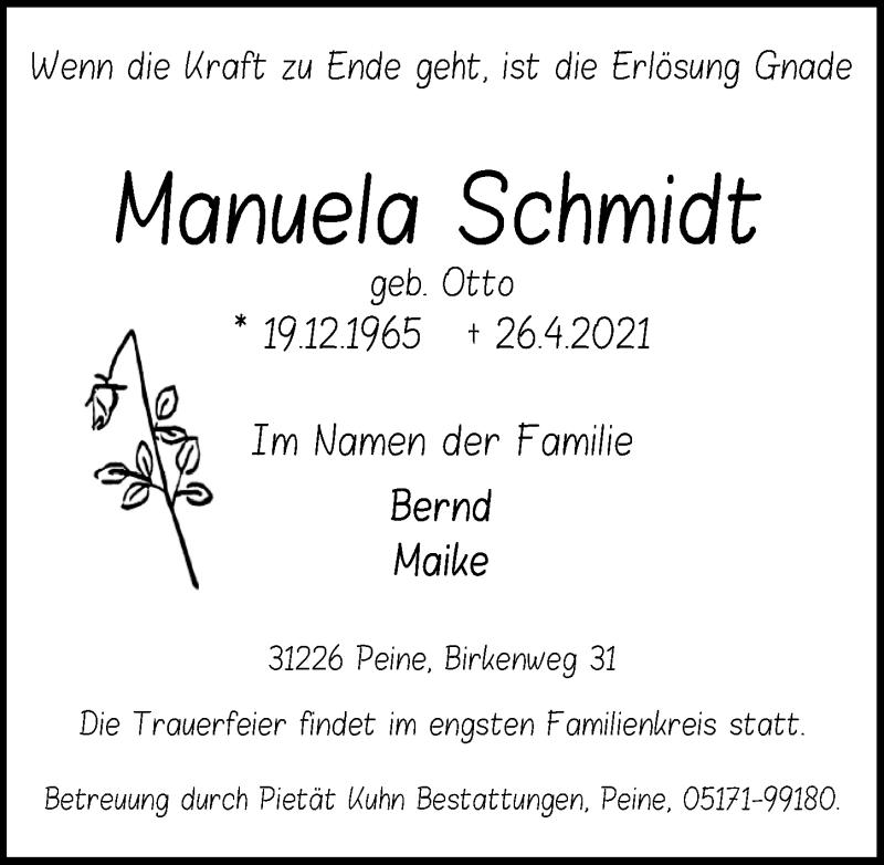Traueranzeige für Manuela Schmidt vom 30.04.2021 aus Peiner Allgemeine Zeitung