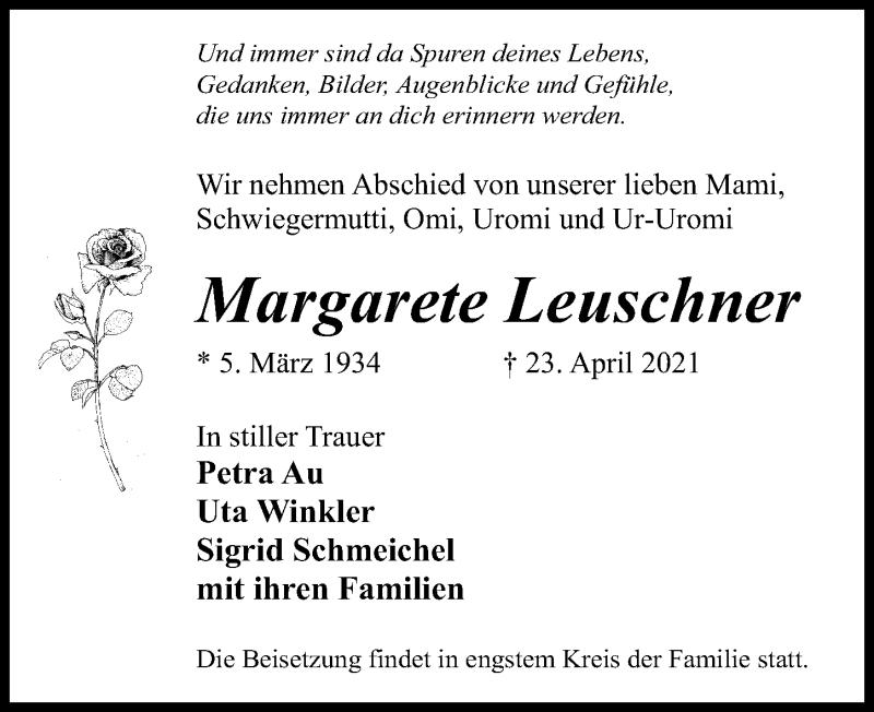 Traueranzeige für Margarete Leuschner vom 30.04.2021 aus Märkischen Allgemeine Zeitung