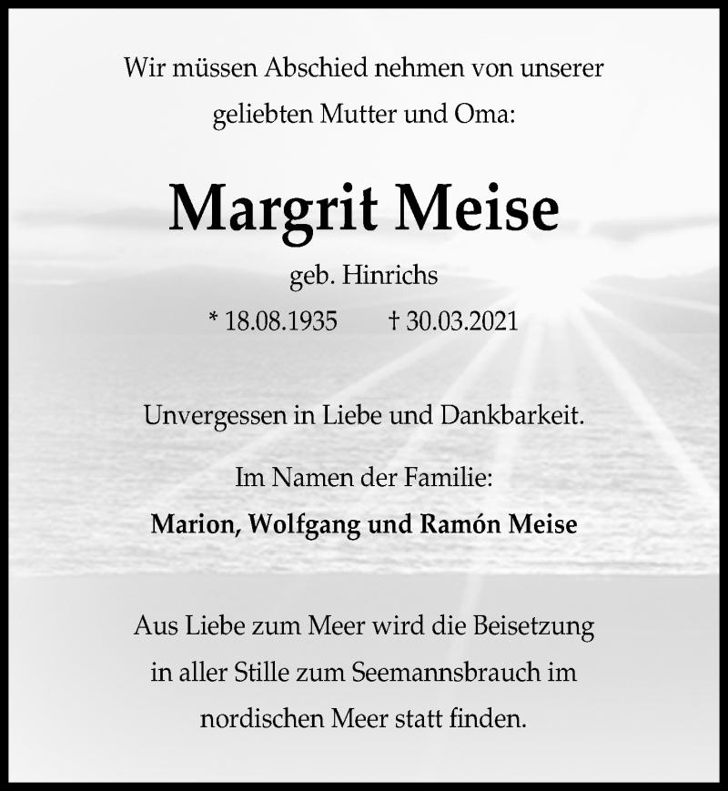 Traueranzeige für Margrit Meise vom 08.04.2021 aus Hannoversche Allgemeine Zeitung/Neue Presse