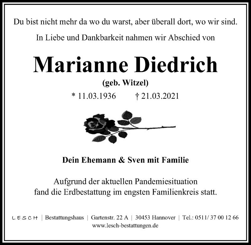 Traueranzeige für Marianne Diedrich vom 10.04.2021 aus Hannoversche Allgemeine Zeitung/Neue Presse