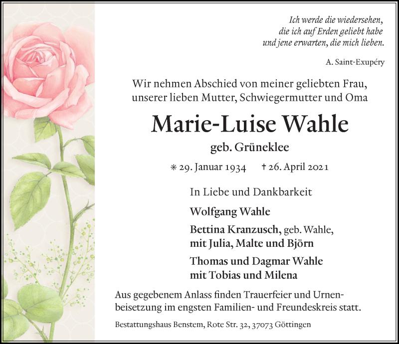 Traueranzeige für Marie-Luise Wahle vom 30.04.2021 aus Göttinger Tageblatt