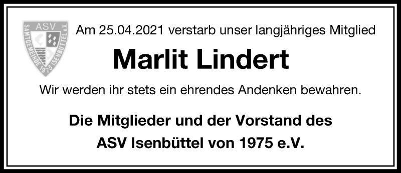 Traueranzeige für Marlit Lindert vom 30.04.2021 aus Aller Zeitung