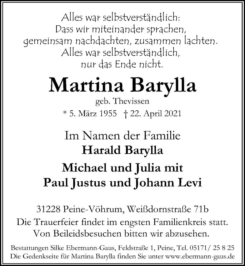 Traueranzeige für Martina Barylla vom 28.04.2021 aus Peiner Allgemeine Zeitung