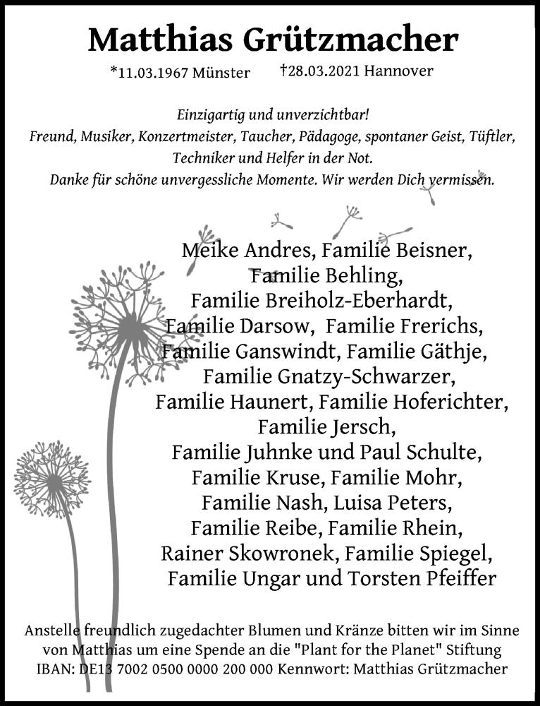 Traueranzeige für Matthias Grützmacher vom 10.04.2021 aus Hannoversche Allgemeine Zeitung/Neue Presse