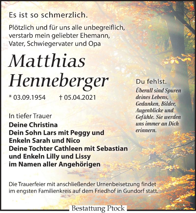 Traueranzeige für Matthias Henneberger vom 24.04.2021 aus Leipziger Volkszeitung