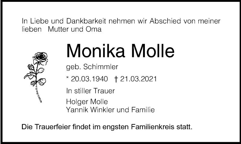 Traueranzeige für Monika Molle vom 10.04.2021 aus Ostsee-Zeitung GmbH