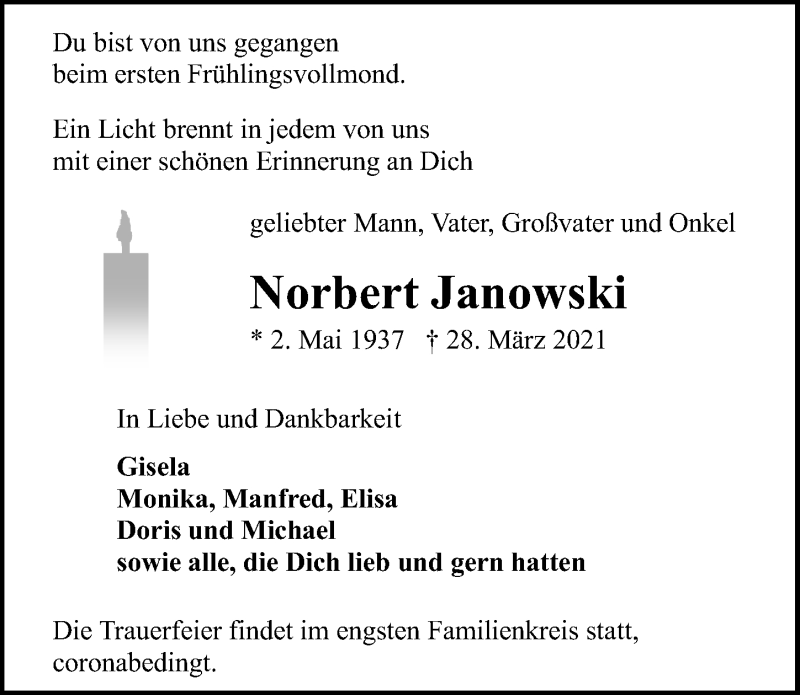 Traueranzeige für Norbert Janowski vom 03.04.2021 aus Ostsee-Zeitung GmbH