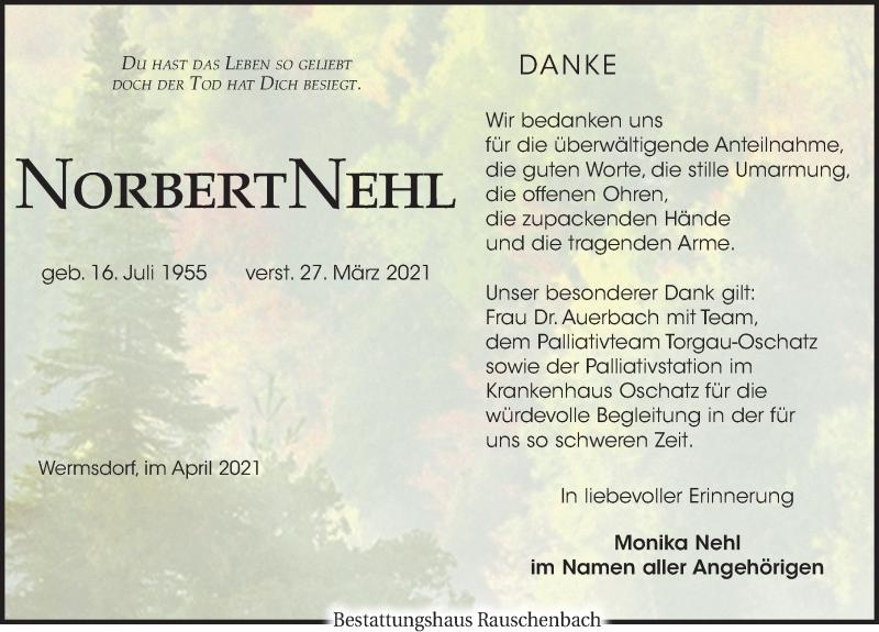 Traueranzeige für Norbert Nehl vom 17.04.2021 aus Leipziger Volkszeitung