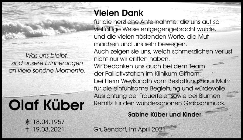 Traueranzeige für Olaf Küber vom 30.04.2021 aus Aller Zeitung