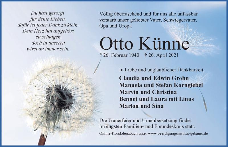 Traueranzeige für Otto Künne vom 30.04.2021 aus Aller Zeitung