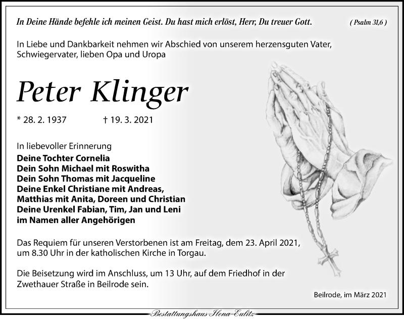 Traueranzeige für Peter Klinger vom 03.04.2021 aus Torgauer Zeitung