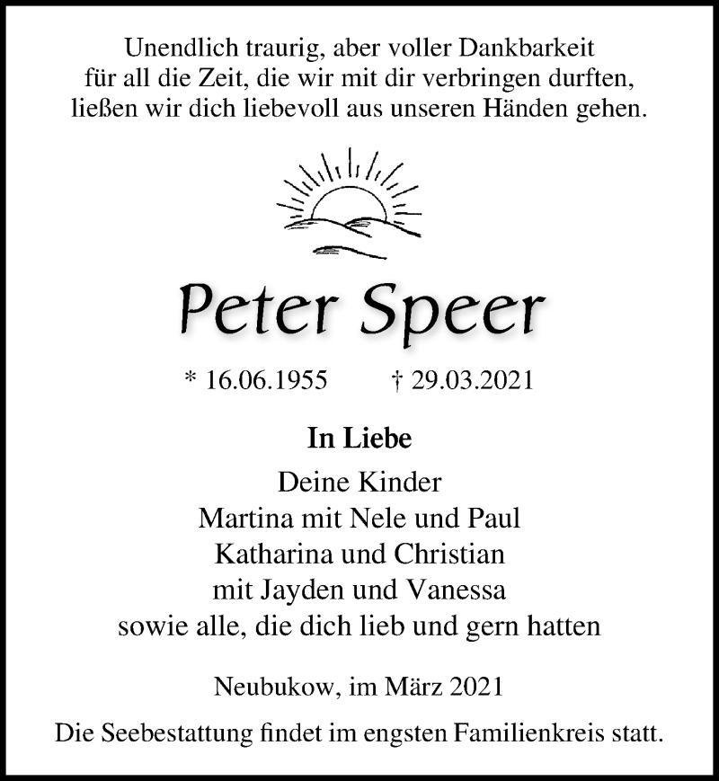 Traueranzeige für Peter Speer vom 03.04.2021 aus Ostsee-Zeitung GmbH