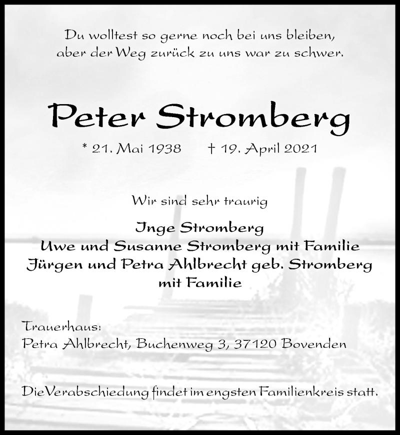 Traueranzeige für Peter Stromberg vom 24.04.2021 aus Göttinger Tageblatt