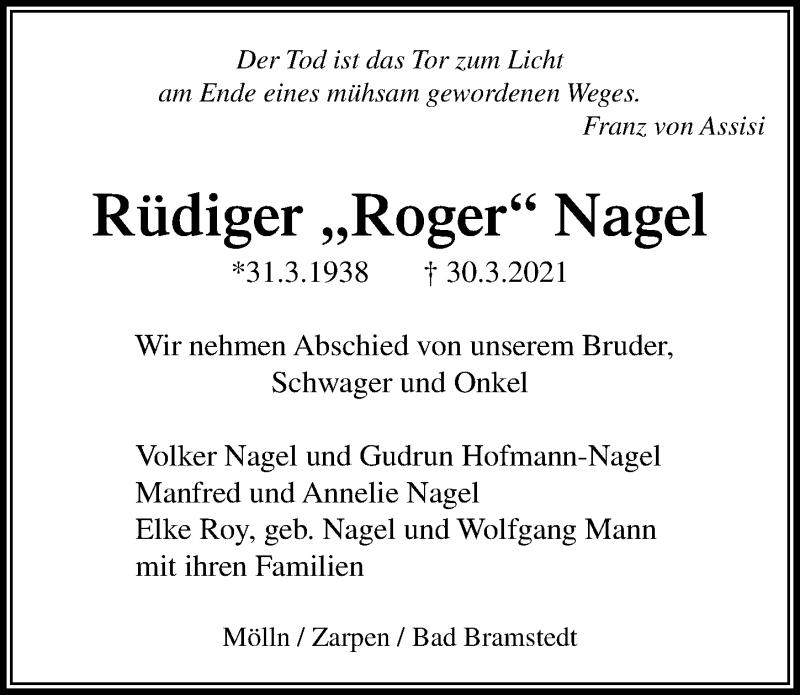 Traueranzeige für Rüdiger  Nagel vom 02.04.2021 aus Lübecker Nachrichten