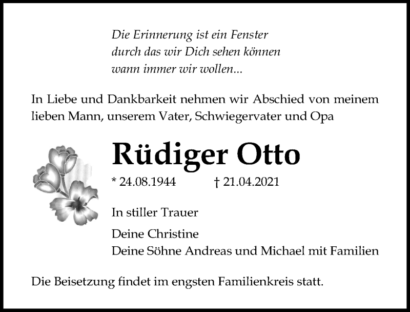 Traueranzeige für Rüdiger Otto vom 24.04.2021 aus Ostsee-Zeitung GmbH