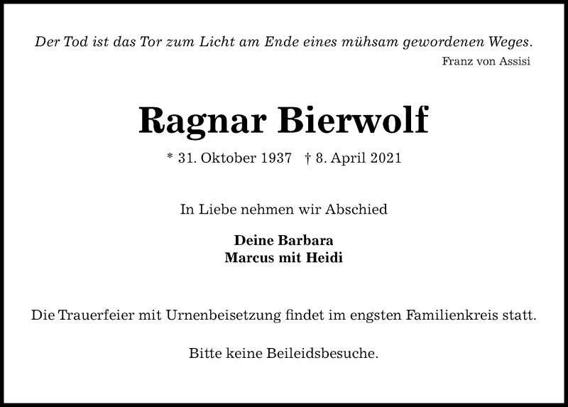 Traueranzeige von  Ragnar Bierwolf