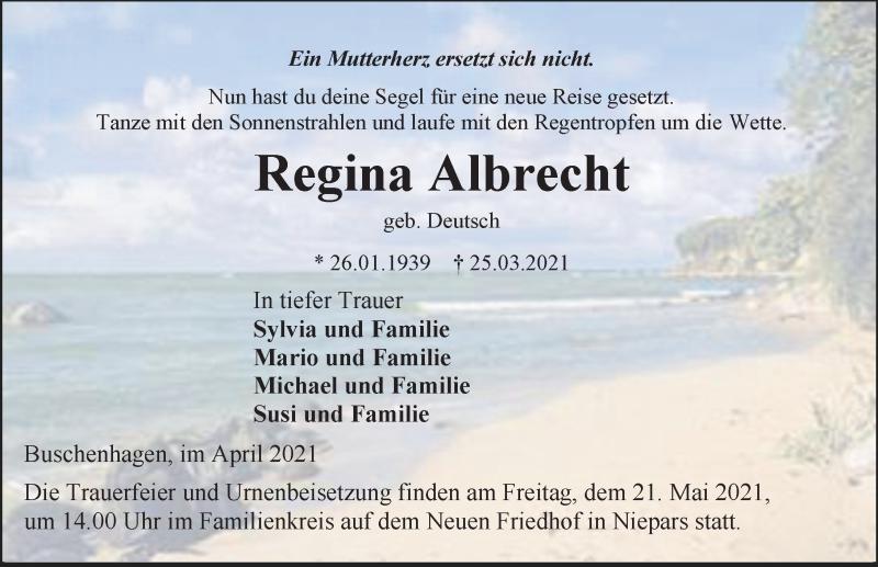 Traueranzeige für Regina Albrecht vom 24.04.2021 aus Ostsee-Zeitung GmbH